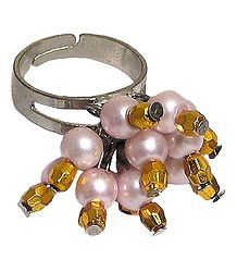 Light Pink and Golden Bead Jhalar Ring