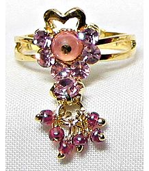 Light Pink Stone Setting Ring with Jhumkas