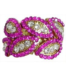 Faux Ruby and White Zirconia Adjustable Ring
