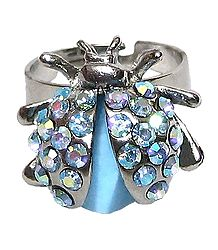 Blue Stone Studded Metal Ring