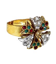 Green, Red, White Stone Studded Adjustable Ring