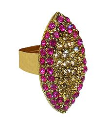 Magenta and Yellow Stone Studded Adjustable Ring