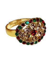 Green, Red, Yellow Stone Studded Adjustable Ring