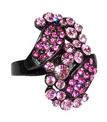 Pink Stone Studded Adjustable Ring