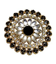 Black and White Stone Studded Adjustable Ring