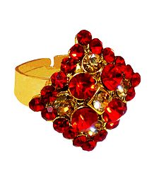 Saffron and Yellow Stone Studded Adjustable Ring