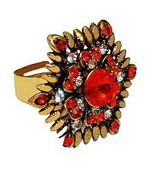 Saffron and White Stone Studded Adjustable Ring