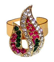 Pink, Green, White Stone Studded Adjustable Ring