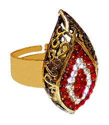 Red and White Stone Studded Adjustable Ring