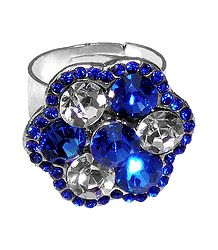 Blue and White Studded Adjustable Ring