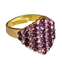Purple Stone Studded Adjustable Ring