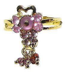 Light Purple Stone Setting Ring with Jhumkas