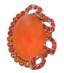 Dark Saffron Stone Studded Adjustable Ring