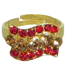 Red and Light Brown Stone Studded Adjustable Ring