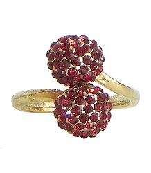 Faux Garnet Adjustable Ring