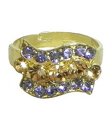 Mauve and Rust Stone Studded Adjustable Ring