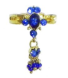 Blue Stone Studdd Adjustable Ring with Beaded Jhalar