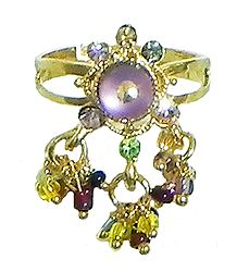 Mauve Stone Studdd Adjustable Ring with Beaded Jhalar