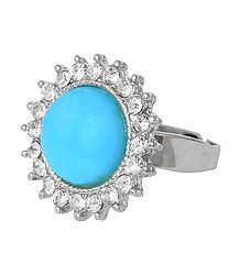 White and Cyan Blue Stone Setting Metal Ring