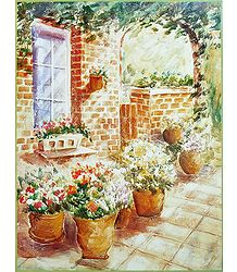 Flowering Pots in a Verandah - Unframed  Poster