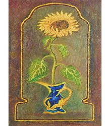 Sunflower in a Blue Vase