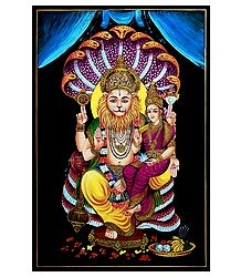 Narasimha Avatar with Lakshmi - Nirmal Painting on Wood