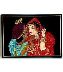Newly Wed Couple - Nirmal Painting on Wood