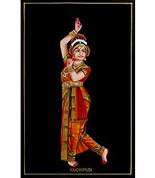 Kuchipudi Dancer - Nirmal Painting on Wood