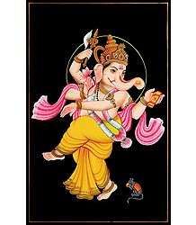 Dancing Ganesha - Nirmal Painting on Wood