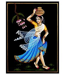 Woman with Pot - Nirmal Painting on Wood