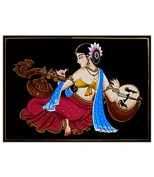 Lady Playing Veena - Nirmal Painting on Wood