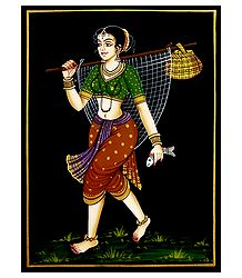 Woman Holding Fish - Nirmal Painting on Wood