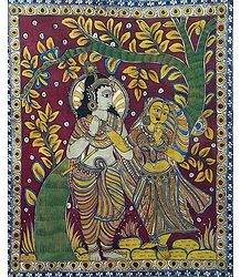 Krishna Adoring Radha - Kalamkari Paintings
