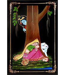 Krishna Peeping at Radha