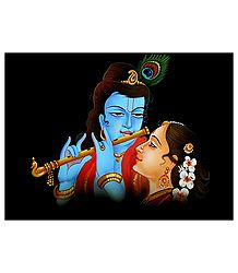Radha Krishna - Nirmal Painting on Wood