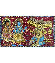 Rama and Lakshmana at War with Ten Headed Ravana - Kalamkari Painting