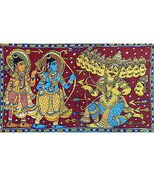 Rama and Lakshmana at War with Ten Headed Ravana - Kalamkari Painting