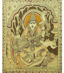 Goddess Saraswati - Kalamkari Painting
