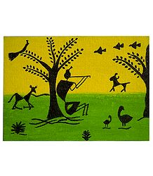 Krishna Playing Flute - Warli Paintings on Hardboard