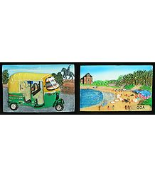Three Wheelar and Goa Beach - Set of Two Magnets