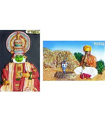 Kathakali and Snake Charmer - Set of Two Magnets