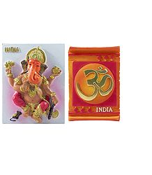 Ganesha and Om - Set of Two Magnets