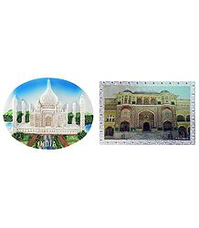 Taj Mahal and Amber Fort - Set of Two Magnets