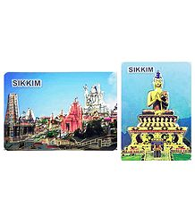 Char Dham and Buddha - Set of 2 Magnets