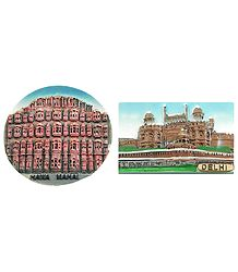 Hawa Mahal in Jaipur and Red Fort in Delhi - Set of Two Magnets