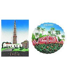 Qutab Minar and Jantar Mantar in Delhi - Set of Two Magnets