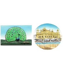 Peacock and Golden Temple in Amritsar - Set of 2 Magnets