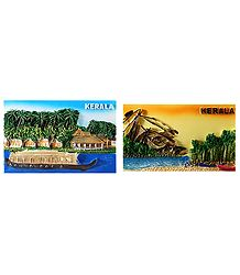 Houseboat and Fishing Net of Kerala - Set of 2 Magnet