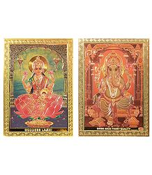 Lakshmi  and Ganesha Metal Magnet