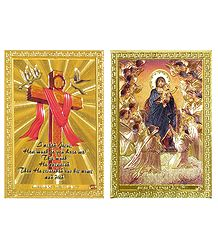 Cross and Mother Mary with Jesus - Set of 2 Magnets